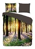 Pure 5353-M 135cm Bettwäsche mit Wald und Blumen, 100% Mikrofaser, 135x200 cm, Mikrofaser, Multi, 200 x 135 x 0, 5 cm