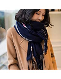 Yetta Foulard d automne et d hiver en Laine châle Femme col Double Usage  étudiant écharpe Japonaise Petite écharpe fraîche rayée (Color… 72b9e19460f