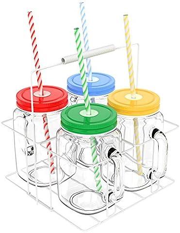 Vremi Mason Jars with Handles Lids and Straws - 20 Oz 4 Piece Wide Mouth Mason Jar Mugs Set with Colored Metal Lids and Holder - Decorative 1.25 Pint Glass Tumbler Set with Mason Jar