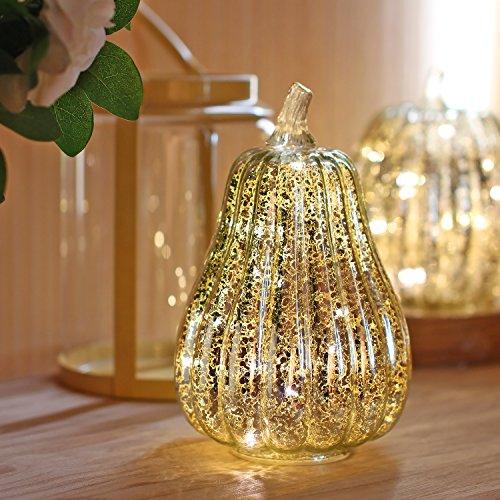 Simpdecor luci zucca halloween luminosa luci decorative zucca illuminata di vetro di mercurio con la cassa per la caduta argento 8.7