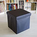 Relaxdays Pouf pliant Chaise de rangement robuste et repose-pieds pratique, boîte de rangement en similicuir avec couvercle amovible,38 x 38 x 38 cm, noir