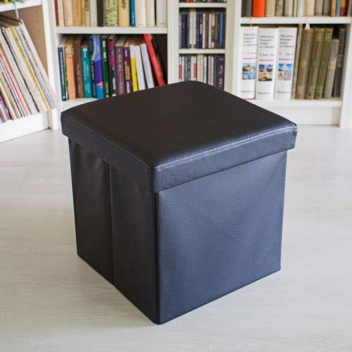 Relaxdays Puff Almacenaje Cuadrado con Tapa, Piel Sintética, Negro, 38 x 38 x 38 cm