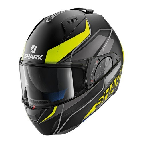 Tiburón evo-one 2Krono cascos de motocicleta, color negro/amarillo/gris, tamaño L