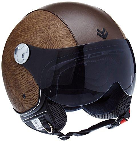 "ARMOR · AV-84 ""Ranger"" (Brown) · Jet-Helm · Scooter-Helm Mofa Chopper Roller Motorrad-Helm Bobber · ECE certified · Visier · Click-n-Secure™ Clip · Tragetasche · M (57-58cm)"