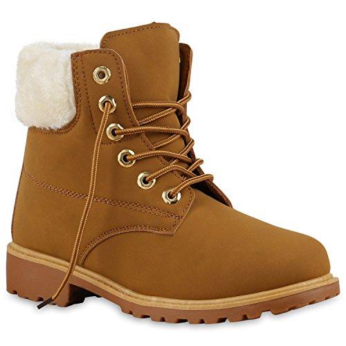UNISEX Damen Herren Boots Bequeme Worker Boots Profilsohle Outdoor Schuhe 130436 Hellbraun Weiss Gelb 41 | Flandell (Herren Gelb Kostüm Stiefel)