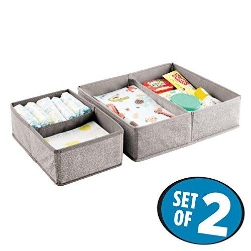 mDesign Lot de 2 – boîte de Rangement avec 4 Compartiments – Panier de Rangement idéal pour Les Jouets, Couches, lingettes humides, etc. – bac de Rangement – Gris