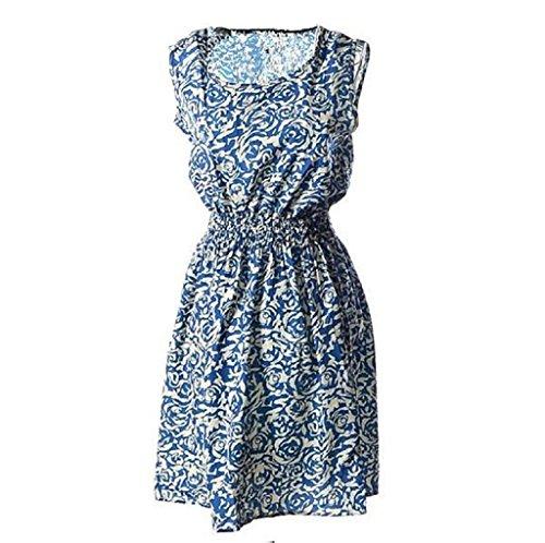 Donna Abito Familizo Abito 1PC Womens Summer Casual Chiffon Sleeveless Fashion Flower Beach Dress (size:L, Blu)