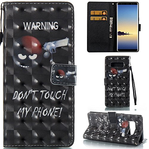 Ooboom® Coque pour iPhone X Housse 3D PU Cuir Flip Cover Étui Wallet Case avec Supporter Fermeture Aimantée Dragonne - Don't Touch My Phone Warning