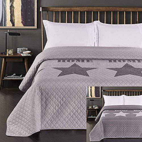 DecoKing 77221 Tagesdecke 170x210 cm Silber Stahl anthrazit Bettüberwurf zweiseitig Steel Silver Steppung Starly
