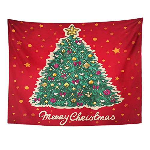 lection, Wall Tapestry, Tapestry Wall Hanging, Art Decor Wall, Green Drawn Christmas Tree Red Retro Hand 60
