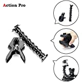 Action Pro Jaws Flex Clamp Mount With Adjustable Gooseneck For Gopro Hero 6, 5, 4, Session, 3+, 3, 2, 1 SJCAM Yi Cameras