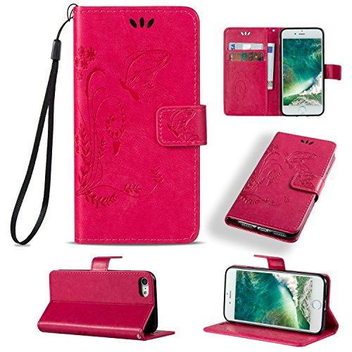iPhone 8 Hülle, Sunroyal Ledertasche für iPhone 7/iPhone 8 4,7 zoll Schutzhülle Bookstyle Flip Handyhülle mit Embossed Blumen Butterfly Schmetterling muster Ultra Dünn Handytasche Multifunktion PU led Rosa rot