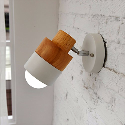 BOOTU Bougeoir LED et descendre appliques Mur de la chambre de chevet feux ajustable lire Korean-style loft en bois rond blanc, mur de l'allée