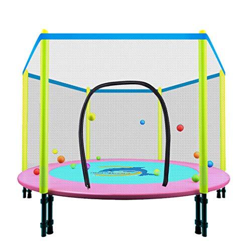 YGUOZ Kinder Indoor Trampolin, Startseite Garten Trampolin mit Sicherheitsnetz Sprungmatte Hochfeste Federn, Trampolin Set Spieleladen,Pink_48in