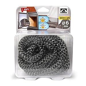 HANSA Junta de cerámica para puerta de estufa, cuerda de fibra de vidrio/sello para estufa 850 C (Ø6)