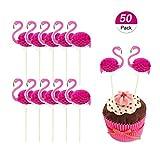 Winko 3d Flamingo Pink Cupcakes Partyzubehör Toppers Food Picks mit tropischen Cupcake-Dekoration (50Stück)
