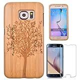 Semoss Baum Schutzhülle in Natur Bambus Handyhülle Bumper Cover für Samsung Galaxy S6 Tree Bamboo Holz Case Harte Tasche Cover mit Displayschutzfolie