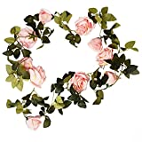 Weimi Rosa Artificiale Ghirlanda di Fiori, Finta Seta Fiori Verde Foglie di Vite per Home Hotel Office Wedding Party Garden Craft Art Decor,Champagne,2 Pezzi (Rosa)