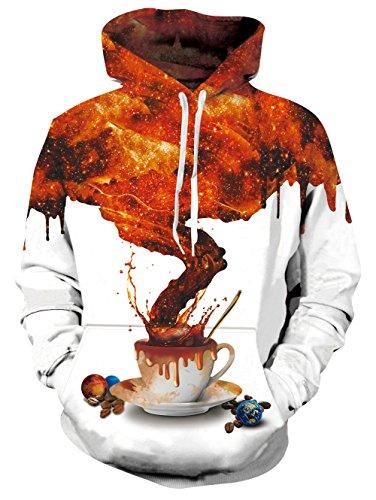Chicolife Männer Frauen Kaffee T Digital Universe 3D Printed Grahphic Hoodie Langarm Sweatshirt mit Taschen