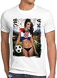 style3 WM 2018 Soccer Girl Deutschland Herren T-Shirt Fußball Trikot Germany Weiss, Größe:XL, Land:Kroatien