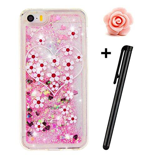 toyym-cover-per-iphone-se-5s-5-trasparente-glitter-bollicine-galleggianti-cuori-dellamore-e-stelline