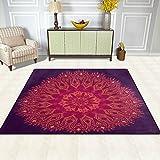 Bereich Teppich, indischen Mandala Vintage Print Teppich Designer Super Soft Polyester Große rutschfeste Modern Bad-Teppiche für Schlafzimmer Wohnzimmer Hall Abendessen Tisch Home Decor 121,9x 160cm, Textil, multi, 58 x 80 inch