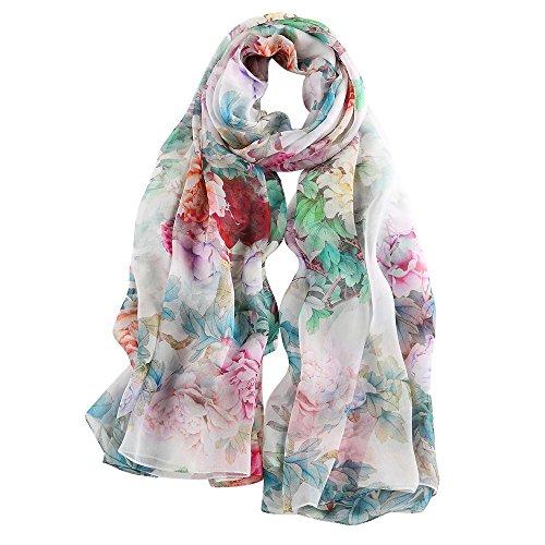 STORY OF SHANGHAI Frauen-Maulbeer-Blumen-Druck Großer Silk Schal