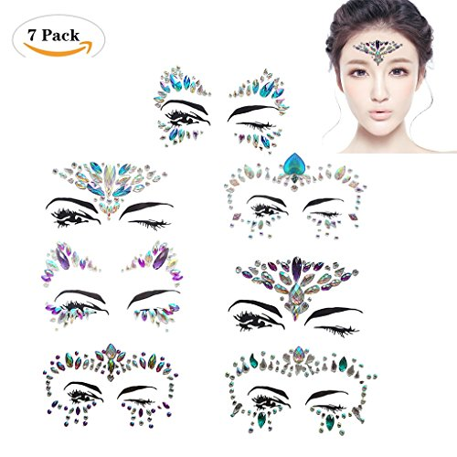 s Juwelen Face Tattoo Face Sticker, Schmucksteine Kristall Glitzersteine Aufkleber Temporäre Stickers Glitter Make-up für Party Festival Shows, Glitzer Effekt, Parties, Shows. (Augen Make Up Temporäre Tattoos)