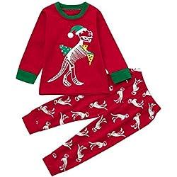 QUICKLYL 2PCS Pijamas Navidad Bebé Niños Niña Dinosaurio Rayas Mangas Largas Invierno Otoño Top+Pantalones Ropa Conjunto (6 Años(130))