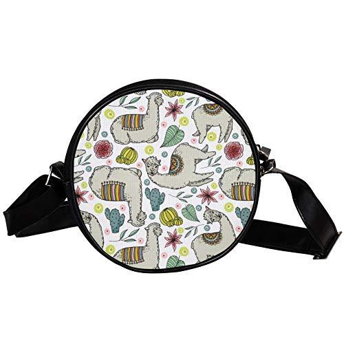 Bennigiry Umhängetasche, rund, aus Wolle mit Alpaka- und Kaktus-Druck, Schultertasche, Tragegriff, für Damen -
