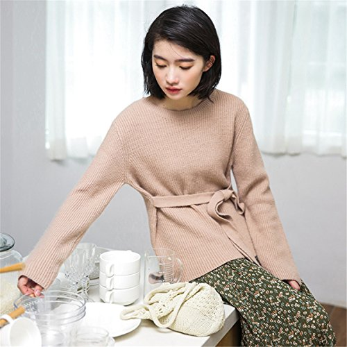 JOTHIN Letteratura e arte Maglieria Allacciatura Casual Maglioni Tinta Unita Sweater Eleganti Pullover Donna Rosa
