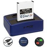 Batteria + Caricabatteria doppio (USB) per Nikon EN-EL12 / Coolpix AW120, S31, S630, S8000, S9500... / KeyMission 360, 170 - Cavo USB micro incluso