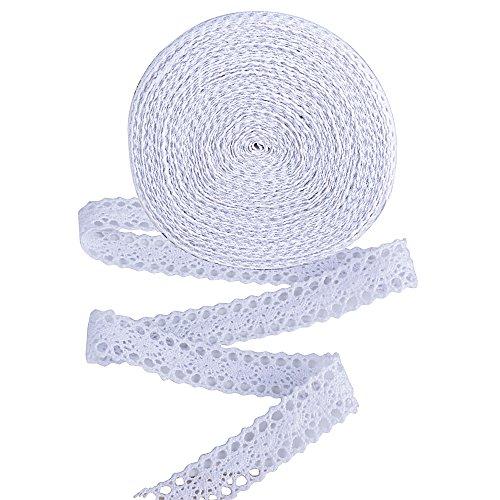 AONER 20 m Spitzenbordüre 2 cm Breite Spitzenborte Baumwolle Vintage Spitzenband Spitzenstoff Spitze Band Zierband Borte Bordüre Dekoband für Hochzeit Party Ostern Weihnachten (Weiß)