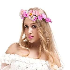 Valdler Corona Floreale Ghirlande di fiori Capelli Camelia Elegante con il Nastro Regolabile per Matrimonio Festa