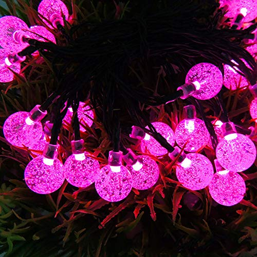 SUN EAGLE 30LED Bubble Bead String Licht Solar Lichterkette Outdoor Weihnachten Dekoration,Purple