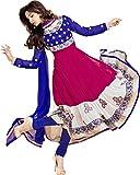 Best Anarkali Suits - Mirchi Fashion Women Blue Magenta Party Wear Indian Review