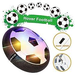 Jueguete Balón de Fútbol Pelota Flotante Air Hover Ball Indoor Outdoo Soccer Toy Juguete Deporte con Botón de Música y LED Luces Regalo para Niños 3 4 5 6【Versión 2018】