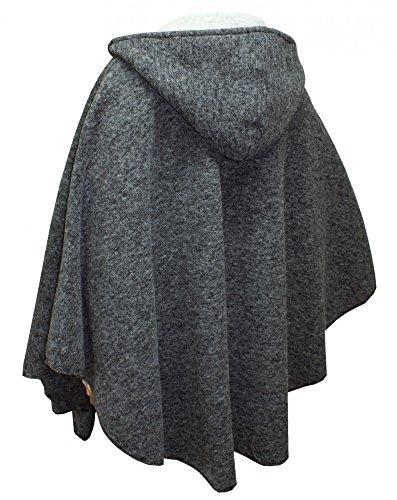 Damen-Wetterfleck Umhang Cape Poncho Trachten-Mantel Walk Wolltuch Kapuze (Forest Kostüm Hunter)