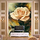 HUANGYAHUI In stile europeo la pittura ad olio Sfondo, sfondo, rose bianche, corridoi, corridoi, grandi dipinti murali, versione verticale, retrò romanticismo-350cmX245cm