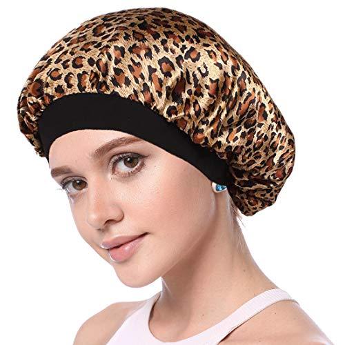 Simoda Satin Floral Night Cap für lockiges Haar Elastisches Band Schlafmütze Haarpflege Satin Haube (#3) - Große Satin Motorhaube
