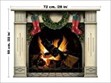 Fireplace Wall Sticker with Christmas Wreath and Stockings - 72x55cm Large Home Decal for Your Living Room - Easy to Apply Vinyl Holiday Wallpaper