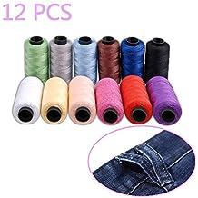 hamhsin 12pcs Jeans hilo Set, 180m de bobina de hilo de coser Kit, poliéster hilo de coser/165m muy grueso, ideal para tela vaquera piel, colcha manta cojín cortina Handwork etc.