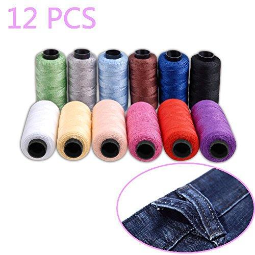 hamhsin 12PCS Jeans Gewinde Set, Nähgarn Set, Polyester Faden nähen Coil 180Yards/165m sehr dicke, toll für Jeans Leder, Quilt Decke Kissen Vorhang Handarbeit etc.. (Thread Jean)