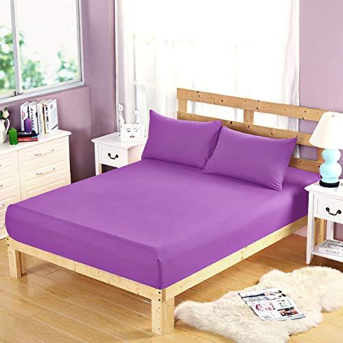 BBQBQ Matratzenbezug für Allergiker, Milbenbezug - Matratzenschutz, atmungsaktiv,Einfarbig Einzelprodukt Schleifschutzhülle Purpur 150 * 200cm