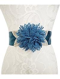 Lemandy hermoso y sexy cinturón de flores de encaje para la boda y vestido de noche de baile en 9 colores B4
