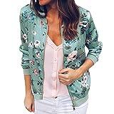 ITISME FRAUEN BLUSE Damen Damen Retro Blumen Reißverschluss Up Bomber Jacke Casual Mantel Outwear