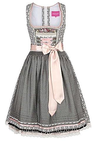 Damen Krüger Madl Dirndl Vintage-Stil schwarz rosa, Schwarz, 42