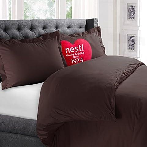 Nestl copripiumino, protegge e copre il comforter/duvet Inserto, 100% super morbido in microfibra, California King Size, colore marrone cioccolato, 3pezzi set copripiumino con 2federe