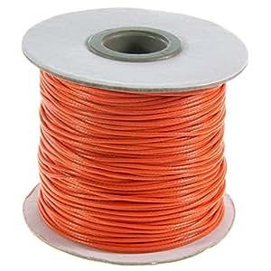 Accessoires création fil coton ciré 1 mm en bobine de 80 mètres Orange