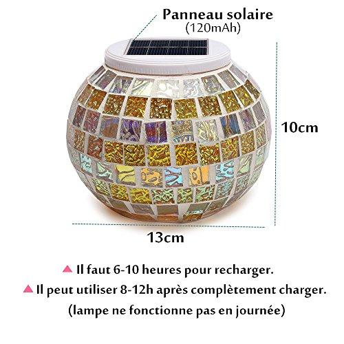 SOLMORE Lampe Solaire LED Veilleuse Mosaïque Verre Blanc/7 ...